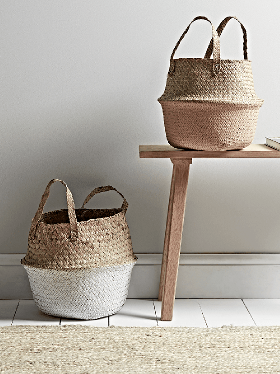 Cox and Cox Dipped Seagrass Storage Baskets in white/natural and millenial pink/natural