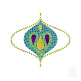 Green, blue, yellow and purple intricate collage work - Droplet 11 by Rex Ray