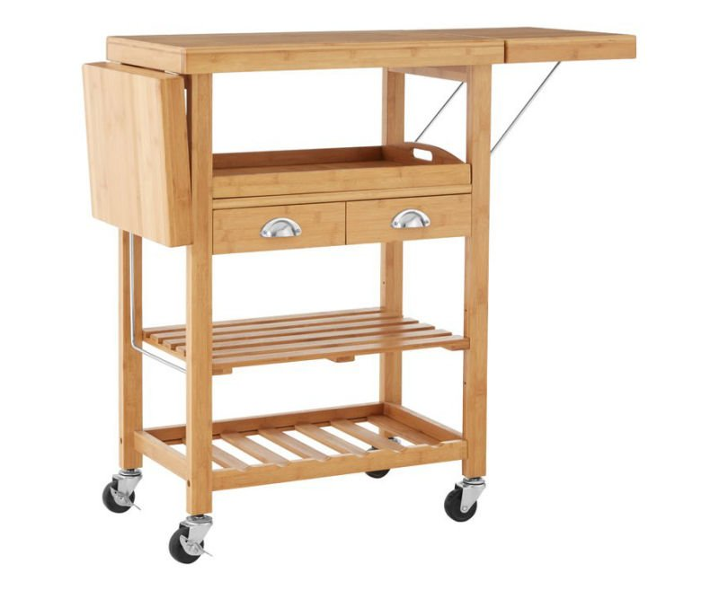 Bamboo Elkhart freestanding kitchen trolley with wheels and storage