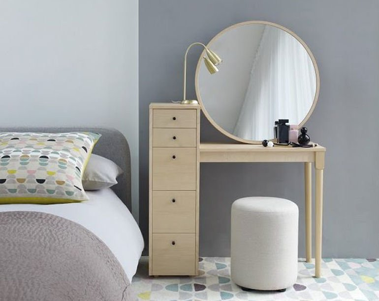 Habitat Emil small dressing table with storage drawers and large round mirror in pale birch wood
