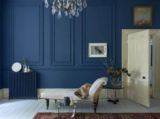 Farrow and Ball Stiffkey blue living room wall