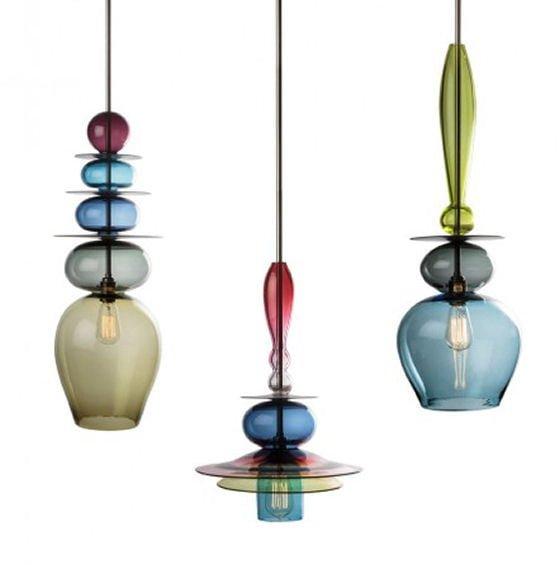Coloured blown glass pendant lights by Curiousa & Curiousa