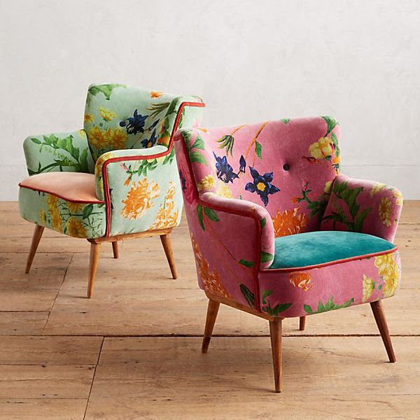 colourful accent chairs in floral prints from Anthropologie