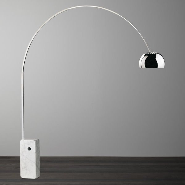 Flos Arco Floor Lamp with marble base and silver shade