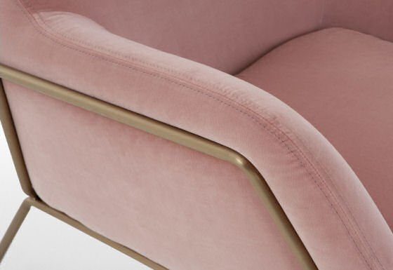 Frame blush pink velvet armchair brass frame detail