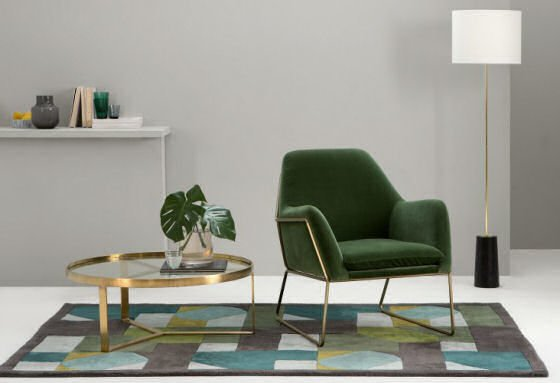 Frame grass green velvet armchair with brass frame