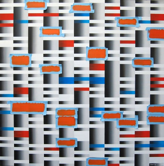 Abstract painting of grey, orange and blue geometric blocks