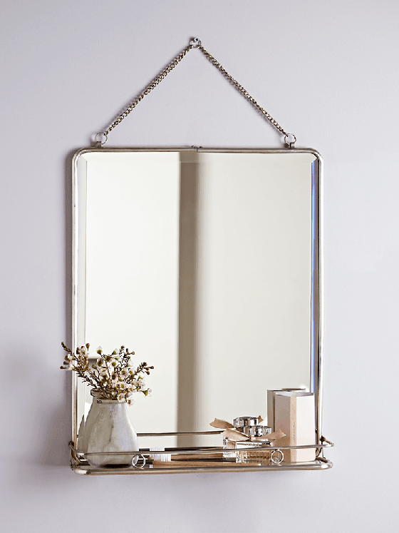 Vintage style French Folding Mirror with shelf by Cox and Cox