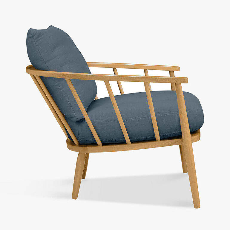 Solid oak Frome compact armchair for small spaces from John Lewis