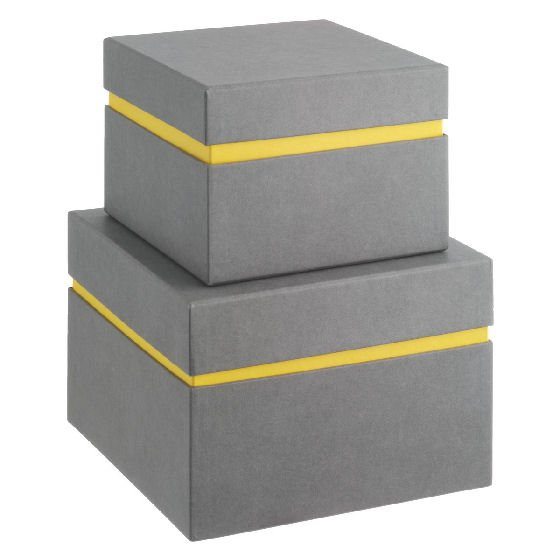 Set of 2 Habitat Garner Cardboard Storage Boxes in grey and yellow