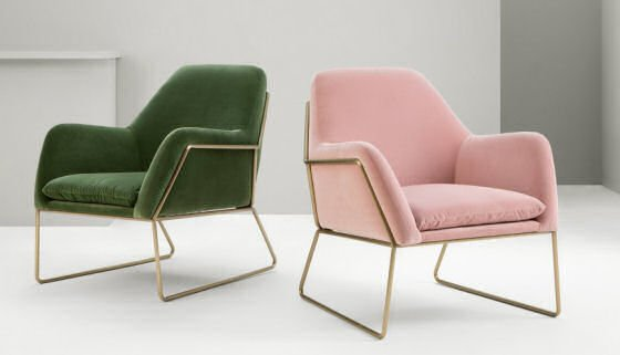 Green and blush pink velvet armchairs with brass frames