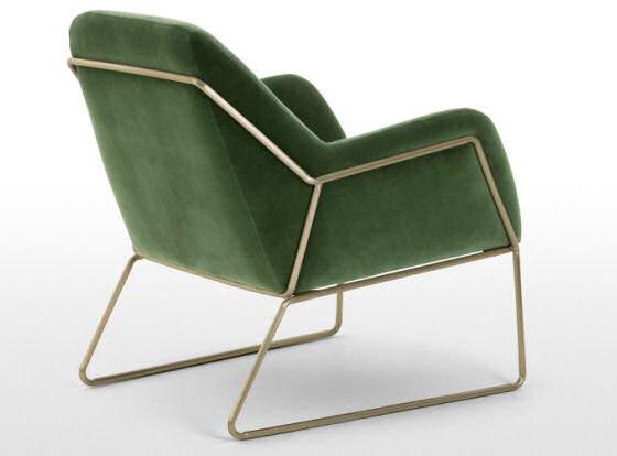 Green velvet armchair back view