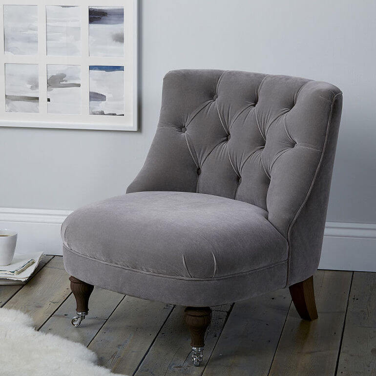 Richmond grey velvet button back accent chair by The White Company