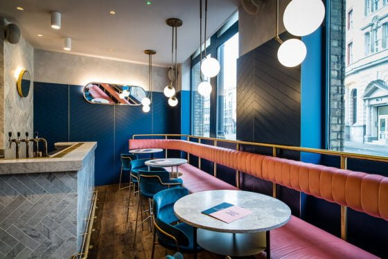 Pink upholstery in Clerkenwell Grind Bar & Restaurant, London