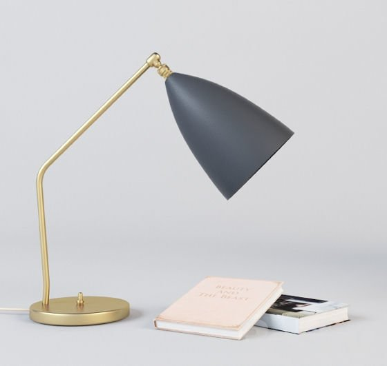 Gubi Grasshoppa brass desk lamp or table lamp with blue shade