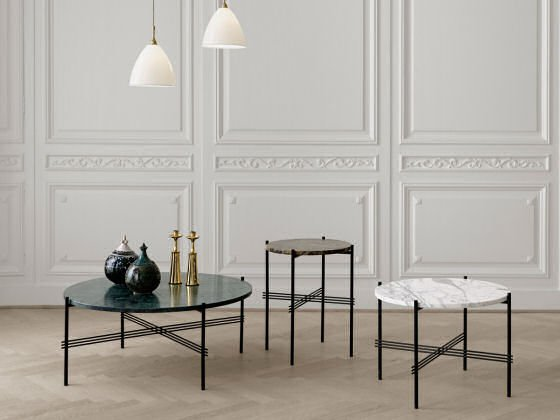 Gubi round TS marble coffee tables and side table in coloured marble