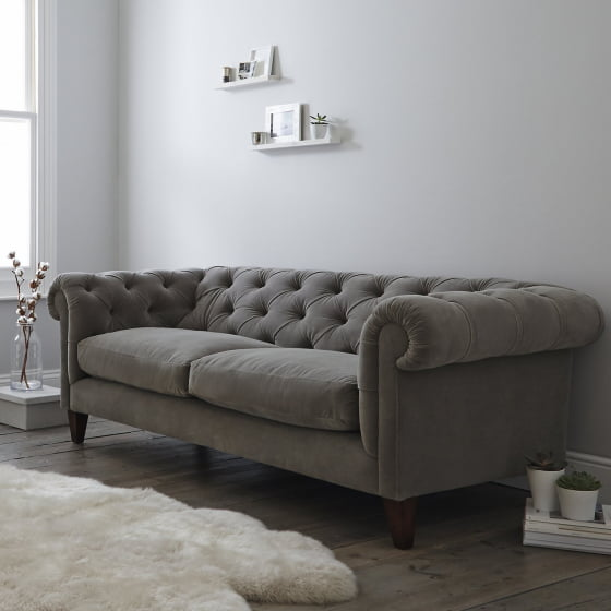 White Company grey Hamstead velvet sofa in modern room setting with grey and neutral decor