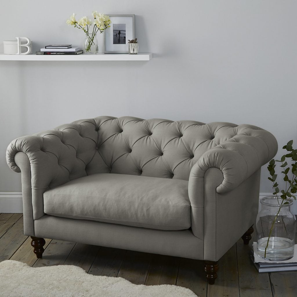 Hampstead Cotton Snuggler grey contemporary armchair with buttoned back and arms in grey