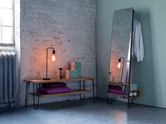 Heal's Brunel Coffee Table and Standing Mirror in industrial style interior setting
