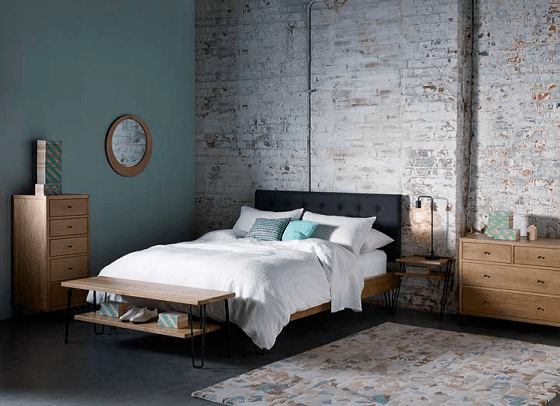 Heal's Brunel range of oak bedroom furniture in industrial style setting