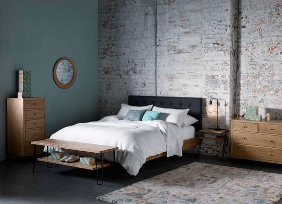 Heal's Brunel range of oak bedroom furniture in industrial style setting