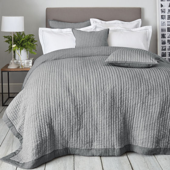 Hudson Quilt, contemporary pale grey cotton quilted bedspread with white bedding