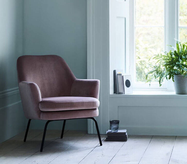 Habitat Celine velvet armchair for small spaces