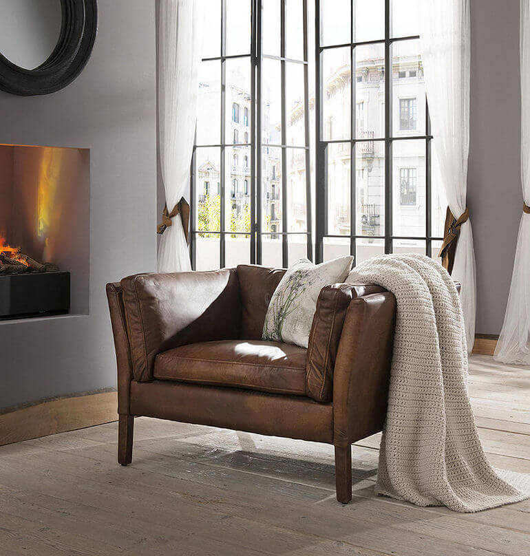 Groucho aniline leather armchair for small spaces from John Lewis