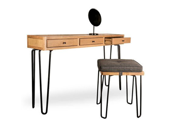 Heal's Brunel Console Table with storage for small spaces with matching Brunel Stool and Mirror