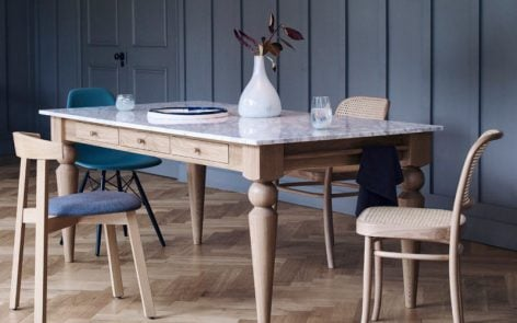 Heals Cooks Table with marble top and oak legs