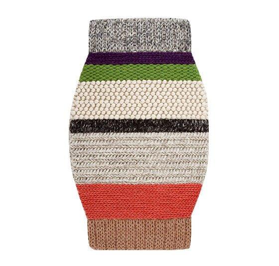 Knitted striped coloured wool rug GAN Mangas MM3 rug by Gandia Blasco