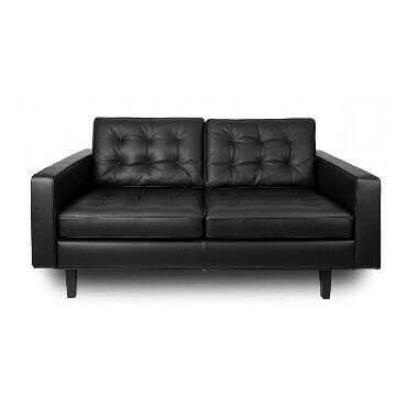 Heal's contemporary black leather sofa with buttoned cushions