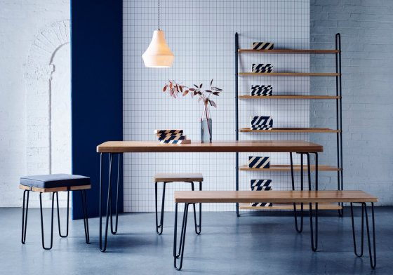 Heal's Brunel range of furniture for small spaces - dining table, bench, stool and leaning shelves