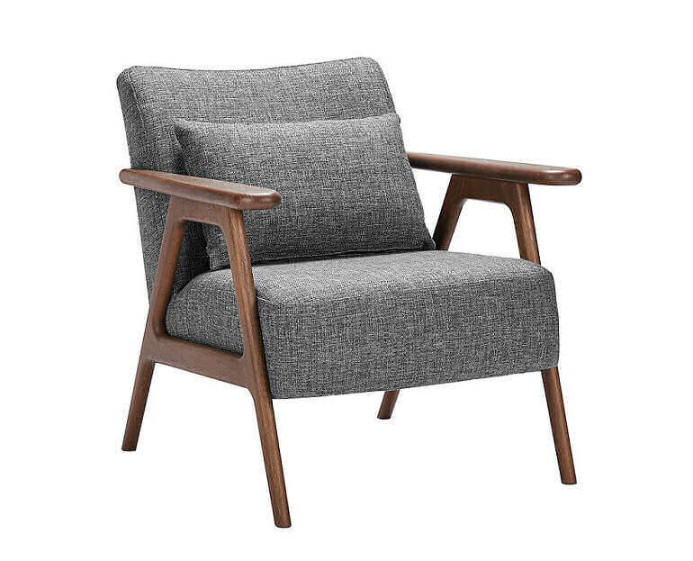 Hendricks mid-century style armchair by John Lewis & Partners with oak frame and grey upholstery