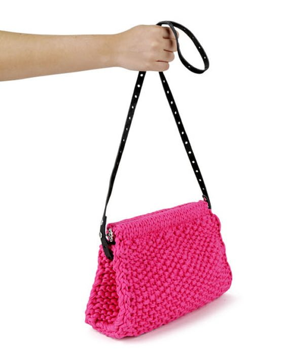 Bright Pink Hey Now Clutch bag from Wool and the Gang