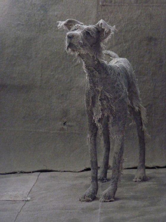 Textile art grey dog by Holy Smoke at Handmade at Kew 2016