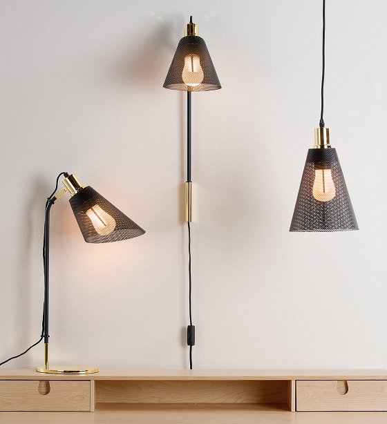 Memoir Lighting Collection of table lamp, wall light and pendant light in black and brass