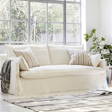 Isaac loose cover contemporary sofa in cream from Sofa.com
