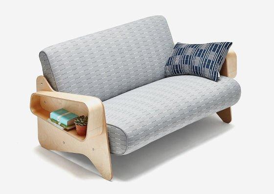 Eleanor Pritchard textiles x Isokon Plus Marcel Breuer Sofa in grey upholstery