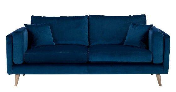 Contemporary blue sofa in midnight blue velvet