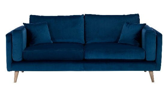 Contemporary blue sofa in midnight blue velvet