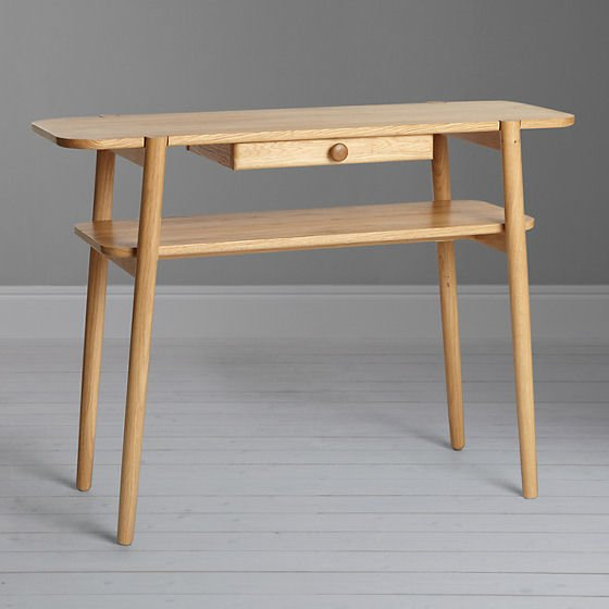 Oak console table with storage for small spaces - John Lewis Design Project No 022