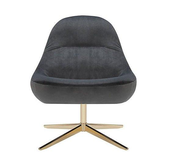 John Lewis Mary grey velvet chair with metallic pedestal