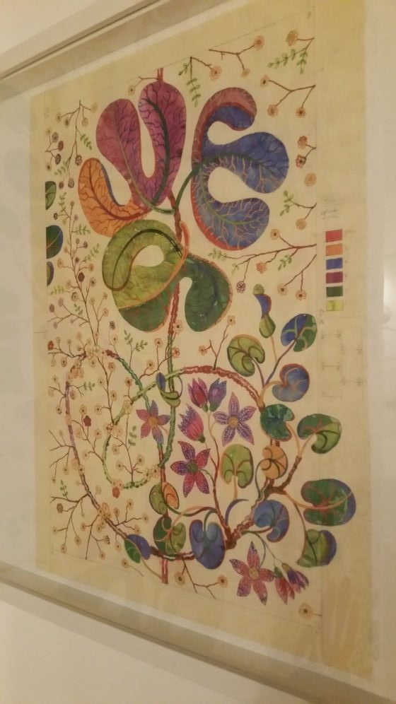 Original textile design artwork by Josef Frank