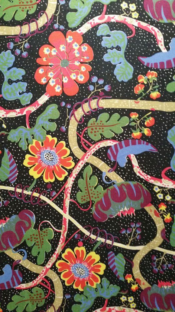Floral design on black background by Josef Frank