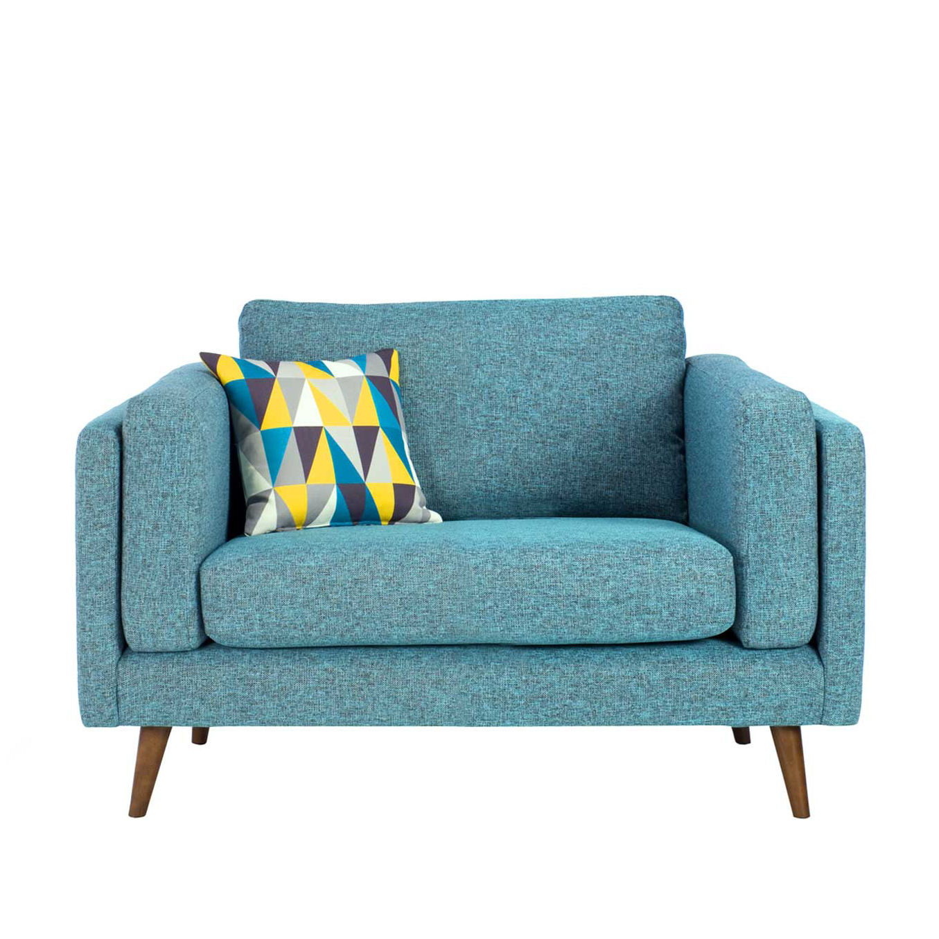 Juni blue snuggler armchair with geometric scatter cushion from Barker & Stonehouse