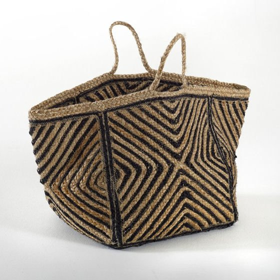 Jutlo decorative home storage basket with handles in black and natural woven jute