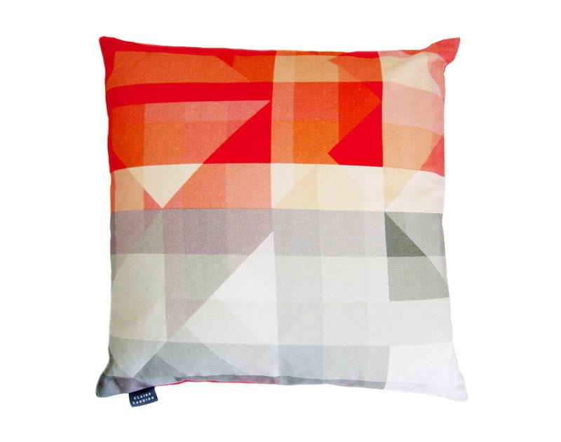 Orange and Grey geometric print cotton cushion by Claire Gaudion