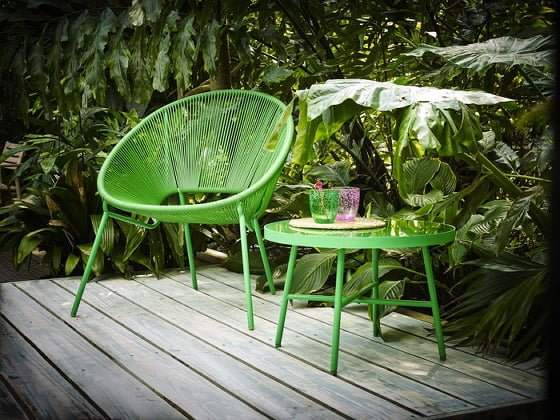John Lewis Salsa Outdoor Chair and Side Table in bright green