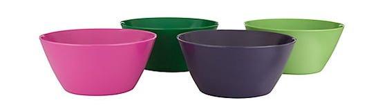 Set of 4 brightly coloured melanime picnicware bowls